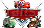 PERSONALISED CARS DISNEY IRON ON T-SHIRT FABRIC TRANSFER OR STICKER NAME lot CP