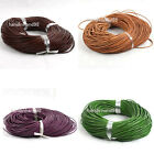 15m Mixed Round Real Leather Cord Necklace Without Clasp 2mm Dia Color Choice