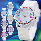 New Geneva Women Girl Wrist Watch 8 Color Crystal Case Rubber Band Quartz Analog