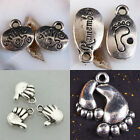 Hand Foot Carved REMEMBER PLAY Oval Round Shaped Pendant Charm Beads Findings