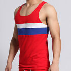 3COLORS Fashion Men's Sexy Splice Stripe Cotton Underwear Tank Top A-shirt