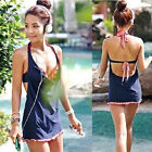 Sales Star Sexy Women Swimwear Swimsuit Padded 3pcs Bikini Sets Mini Skirts Blue