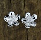 Hawaiian 925 Sterling Silver Plumeria Flowers Stud One Tone Polish CZ Earrings