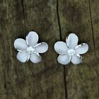 Hawaiian Jewelry 925 Sterling Silver Plumeria Hawaii Flowers Post Stud Earrings