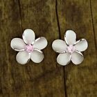 Hawaiian Jewelry Pair 925 Sterling Silver Plumeria Flowers Post Stud Earrings