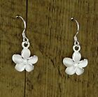 Hawaiian Pair 925 Sterling Silver Plumeria Flowers Hook Cubic Zirconia Earrings
