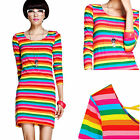 Girl Slim Youthful Lady Rainbow Colorful Stripe Long Top Mini Dress XS S #DDM