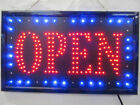 BRIGHT BLUE & RED LED FLASHING OPEN NEON SHOP DISPLAY SIGN 48cm x 25cm UK SELLER