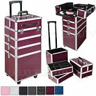 4 In 1 Beauty Technicians Makeup Vanity Case Hairdressing Cosmetics Box Trolley