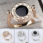 B1-R484 Double Face Ring Zodiac Constellation Horoscope 18K GP Swarovski Crystal