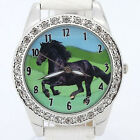 New Round Horse Black Leather Analog Crystal Wristwatch Hot L18