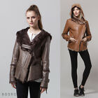 New Women's Genuine shearling fur jacket leather coat with hoodie Khaki XS S M