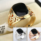 A1-R074 Fashion Carved Simulated Onyx Black Glaze Ring 18KGP
