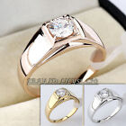 Men's Fashion Band Ring 18KGP CZ Rhinestone Crystal Size 8-12.5