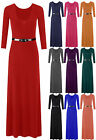 New Ladies Womens Long Sleeve Jersey Belted Long Maxi Dress Skirt Plus Size 8-26