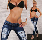 Sexy Women's Low Rise Skinny Jeans Destroyed Ripped Jeans Blue Size 6-14