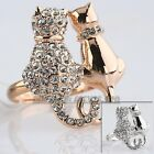 A1-R246 'Cats In Love' Ring 18K Rose Gold / White Gold GP Size 5.5 6 6.5 8 9