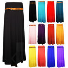 WOMENS GYPSY LONG JERSEY MAXI BELTED DRESS SKIRT ALL COLOURS 8 10 12 14