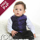 Boys Purple Black 4pc Wedding Pageboy Communion Formal Paisley Waistcoat Suit