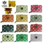 LYDC Designer Ladies Polka Dot Faux Leather Purse/Wallet/Clutch with LYDC Logo