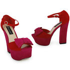 NEW WOMENS RED PINK FAUX SUEDE HEEL PARTY PEEPTOE LADIES PLATFORM SHOES SIZE 3-8