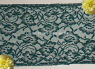 """3 Yd Green Lace Trim 6-3/4"""" Vintage Floral Galloon M127V Added Items Ship FREE"""