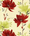 Whitewall Interiors Rio Wallpaper 201032. Feature Floral Red Cream Silver