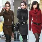 High Collar Long Sleeve Knitted Package-hip Lady Winter Sweater Dress 5 Color