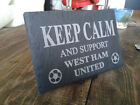 KEEP CALM AND CARRY ON FOOTBALL FANATIC GIFT RUSTIC SLATE ANY TEAM NAME (Z-FC-1)