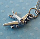 Jet Airplane Pewter Charm on Plated Cable Chain Travel Fly Vacation