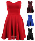 Ladies Bustier Boobtube Skater Womens Party Evening Dress Size 8, 10, 12, 14