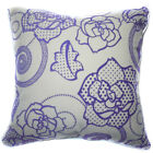 UF23a Lilac Purple Rose Ivory Velvet Style Cushion Cover/Pillow Case Custom Size