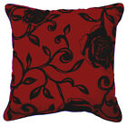 UF81a Black Rose Flower Red Velvet Style Cushion Cover/Pillow Case *Custom Size*