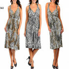 B63 Womens Leopard Print Cocktail Party Evening Chic Stretch Summer Beach Dress