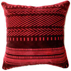 UL33a Deep Red Srtipe Line on Dark Red Velvet Style Cushion Cover/Pillow Case