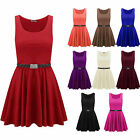Ladies Leopard Belted Sleeveless Flare Franki Party Womens Skater Dress Top 8-14