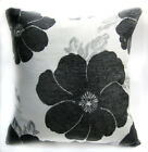 Wb09Aa Gray Black Daisy Flower Chenille Throw Cushion Cover/Pillow Case Size