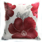 Wb10Aa Red Grey Flower on Pale Grey Cotton Cushion Cover/Pillow Case Custom Size