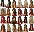 Wig Fashion synthetic natural medium uk full wig Blonde Black Brown Red party L