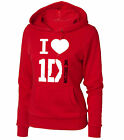 FELPA  1D I LOVE ONE DIRECTION GROUP DONNA ROSSA CON CAPPUCCIO