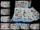 2 x SHEETS CUTE GIRLS TEMPORARY TATTOOS COLOURFUL BUTTERFLIES BANDS HEARTS ROSE