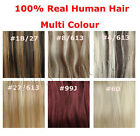100% REMY  Clip in Real Human Hair Extensions 20'' 7Pcs Black Brown Blonde RED