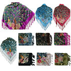 Women's Burnout Velvet Long Fringes Centered Beaded Peacock Fashion Scarf Shawl