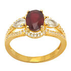 De Buman 1.67ctw Genuine Ruby and White Topaz 925 Silver Ring SIZE 6/7/8