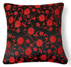 Bf077a Black Red Wild Aster Black Rayon Brocade Pillow/Cushion Cover*Custom Size