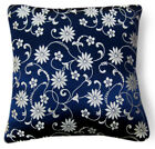 Bf082a Silver on Blue Wild Aster Rayon Brocade Pillow/Cushion Cover*Custom Size