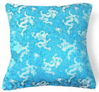 BL110a Silver Dragon on Teal Rayon Brocade Cushion Cover/Pillow Case*Custom Size