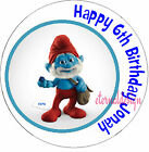 PERSONALISED BIRTHDAY PAPA SMURF  STICKERS SEALS GIFTS FAVOURS INVITES KIDCS 2