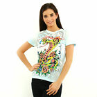 Ed Hardy by Christian Audigier Women Cobra air brushed blue short sleeve tee