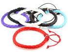 7 Inch Plain PU Leather Rope Surfer Style Bracelet - braclet bracket